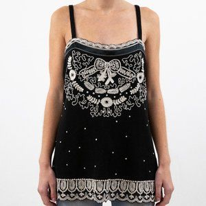 Anthropologie 4 Silk Mesh Embroidered Bow Tank Top